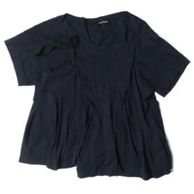 tricot COMME des GARCONS(トリココムデギャルソン) ラップデザイン タックプリーツ Tシャツ ネイビー M【レディース】【中古】【K2605】