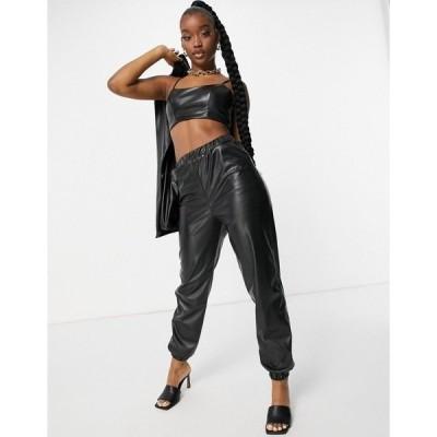 エイソス レディース カジュアルパンツ ボトムス ASOS DESIGN jersey leather look suit sweatpants in black Black