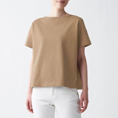 良品計画無印良品 太番手天竺編みボートネックTシャツ 婦人 M~L スモーキーブラウン 良品計画