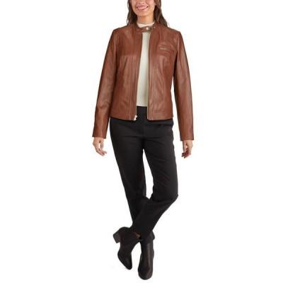 コールハーン レディース コート アウター Stand-Collar Leather Moto Jacket