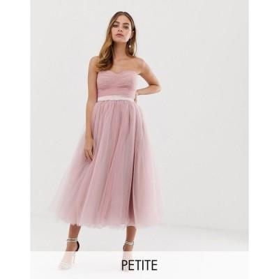 ドリーデリシャス ミディドレス レディース Dolly & Delicious Petite bandeau full prom midaxi dress in pink エイソス ASOS