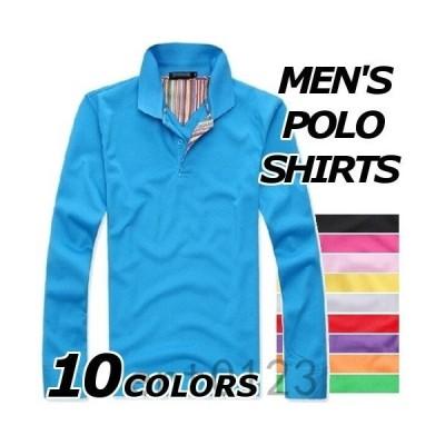 ロンT メンズ  ポロシャツ 長袖 カットソー 長袖ポロシャツ おしゃれ プルオーバーシャツ 無地 柄 黒 トップス