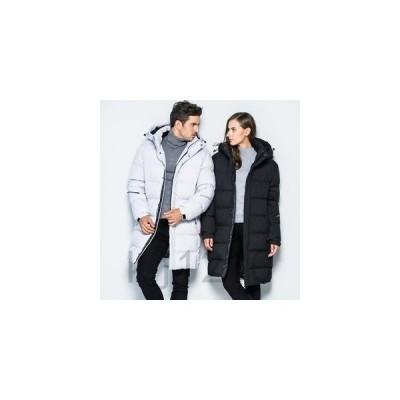 ダウンコートメンズレディースコートペアルックカップルアウターダウンジャケットロングコートキルティングコートフード付き暖かい防