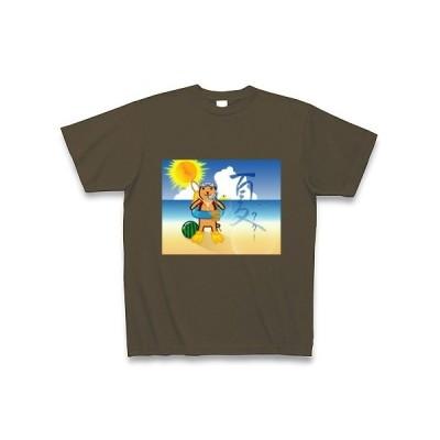 夏クター Tシャツ Pure Color Print (オリーブ)