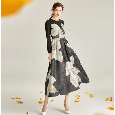 パーティードレス 高品質 レディース ロングドレス お呼ばれ 二次会 結婚式 aラインワンピース 袖あり 大きいサイズ フォーマル エレガント 花柄 成人式ドレス