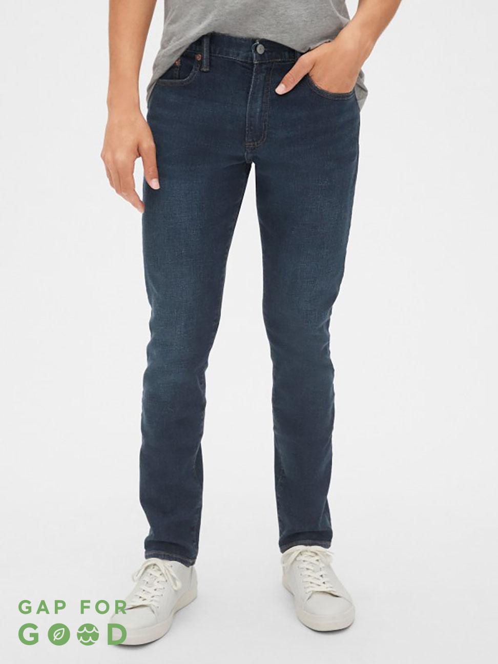 男裝 深色簡約五口袋牛仔褲