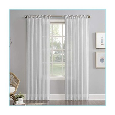 "新品No. 918 Harmony 2-Pack Slub Textured Linen Blend DIY Crafted Sheer Tie Top Curtain Panel Pair, 50"" x 84"", White"