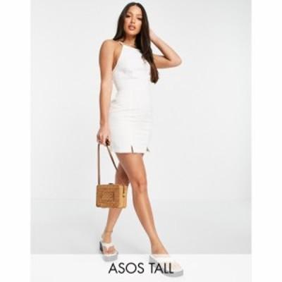 エイソス ASOS Tall レディース ワンピース デニム スリップドレス ワンピース・ドレス Tall Soft Denim Halterneck Slip Dress In White