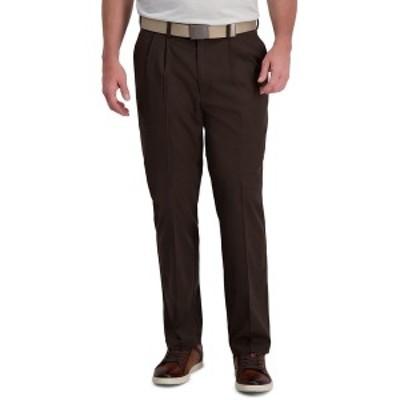 ハガール メンズ カジュアルパンツ ボトムス Cool Right Performance Flex Classic Fit Pleat Front Pant Brown Heather