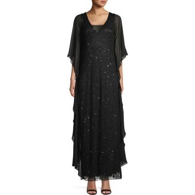 ジェイカラ J Kara レディース パーティードレス ワンピース・ドレス Embellished Drape Gown ブラック