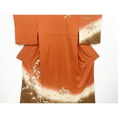 リサイクル 金彩貝桶に扇菊梅模様刺繍一つ紋訪問着(重ね衿付き)