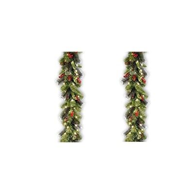 National Tree クレストウッド スプルース ガーランド 9フィート x 10インチ ウォームホワイト 電池式 LEDライト50個 (CW7