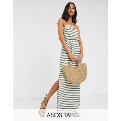 エイソス ASOS Tall レディース ワンピース マキシ丈 ワンピース・ドレス Asos Design Tall Bandeau Maxi Dress With Belt In Khaki Stripe