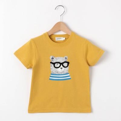 デッサン Dessin 【100~140cm】ベアグラフィッククルーネックTシャツ (レモンイエロー)