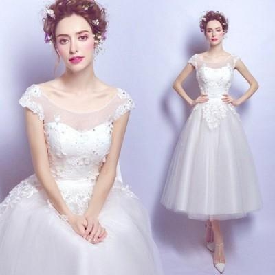 ミモレ丈 ドレス 無地 ワンピース レース 結婚式 白ワンピース 二次会 花嫁 ウエディングドレス ウェディングドレス エンパイア 結婚式