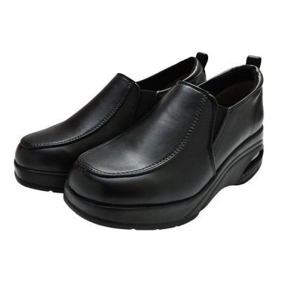 モガ ビセット MOGA BUISSET 厚底シューズ 327 スリッポン ウエッジソール 3E レディース 婦人 靴 ブラック 黒