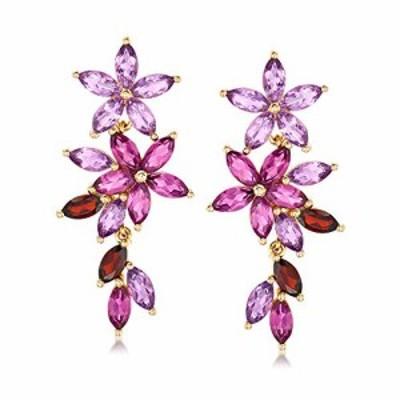 特別価格送料無料Ross-Simons 730 ct tw Multi-Gemstone Floral Drop Earrings in 18kt Gold Over Sterling好