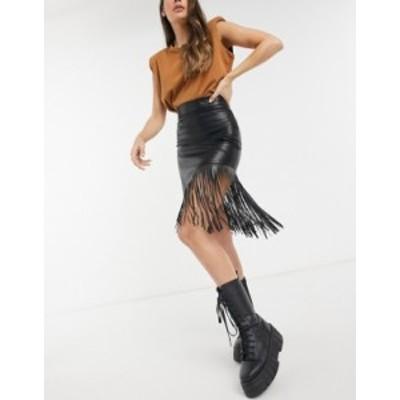 エイソス レディース スカート ボトムス ASOS DESIGN leather look midi skirt with fringe detail in black Black