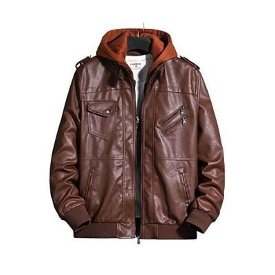 [カイヤス]ブルゾン メンズ PUレザージャケット フード付き ゆったり ダブル 大きいサイズ S-4L 秋冬春 ジャンパー ライダース 防