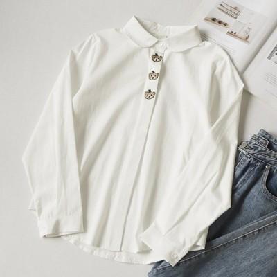 シャツ レディース トップス 長袖 ラウンドカラー ボタン 熊 クマ 刺繍風 かわいい カジュアル おしゃれ 婦人服 キュート