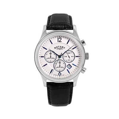 Rotary Men's Quartz Watch with White Dial Chronograph Display and Black Leather Strap GS00293/21 並行輸入品