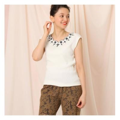 【クチュール ブローチ/Couture brooch】 【洗える】フレンチスリーブスカラップネック刺繍フレンチスリーブ