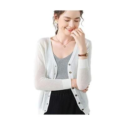 Achruor レディース カーディガン Vネック UVカット 薄 羽織り 長袖 冷房対策 上品 紫外線対策 日焼け防止 7色展開
