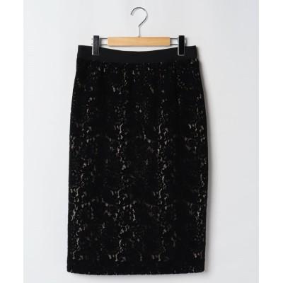 【ラピーヌ ブルー】 モールレースタイトスカート レディース ブラック 44 LAPINE BLEUE