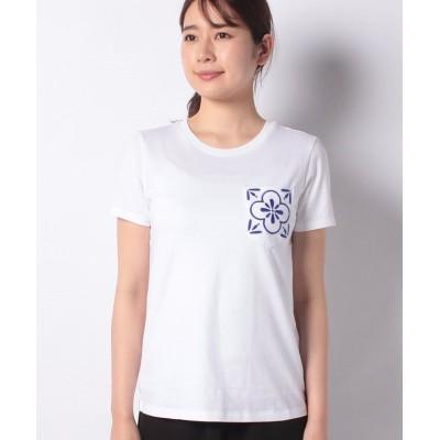 (BENETTON (women)/ベネトン レディース)ラウンドネックブルーモチーフTシャツ・カットソー/レディース ホワイト