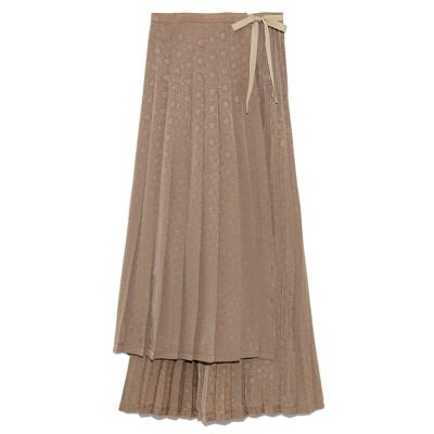 リリーブラウン Lily Brown ジャガードプリーツラップスカート (ブラウン)