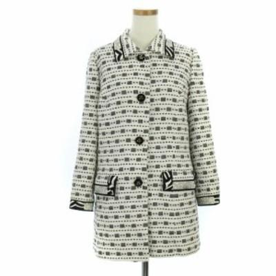 【中古】レオナール ステンカラーコート コート ミドル丈 ロゴボタン 総柄 花 フラワー ブラック ホワイト 38 ECR2