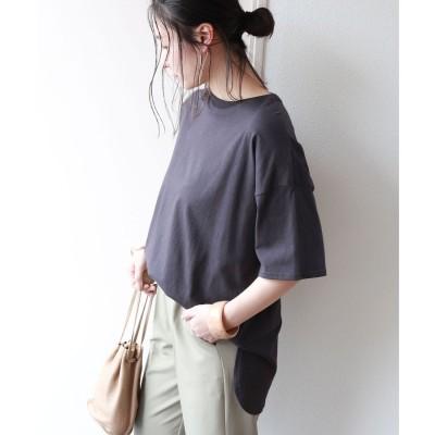 アンドミー and Me USAコットン半袖オーバーサイズ裾ラウンド Tシャツ (チャコールグレー)