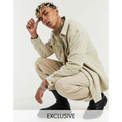 リクレイム ヴィンテージ メンズ ジャケット・ブルゾン アウター Reclaimed Vintage inspired faux wool overshirt in stone