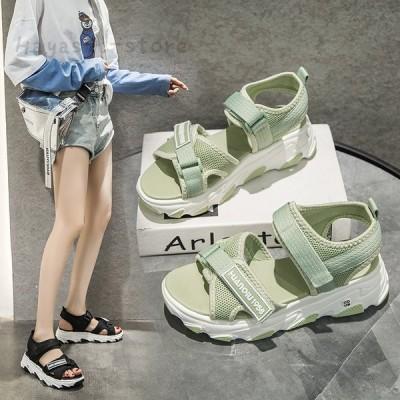 夏サンダル レディース 履きやすい ベルクロ スポーツサンダル 厚底スポサン カジュアル 美脚 おしゃれ 大きいサイズ
