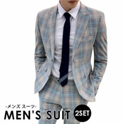 2点セット 二次会 男スーツ ジャケット+ズボン かっこいい 結婚式 パーティー メンズスーツ