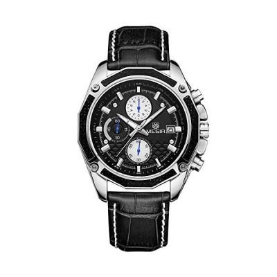 【並行輸入品】Megir Men's Chronograph Quartz Watches Sports Leather Strap Waterpro