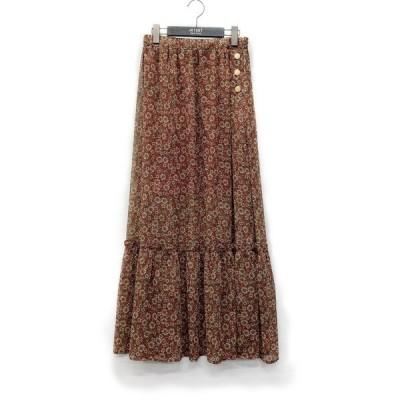 スカート 【calie paris】サイド釦フラワープリント ロングスカート