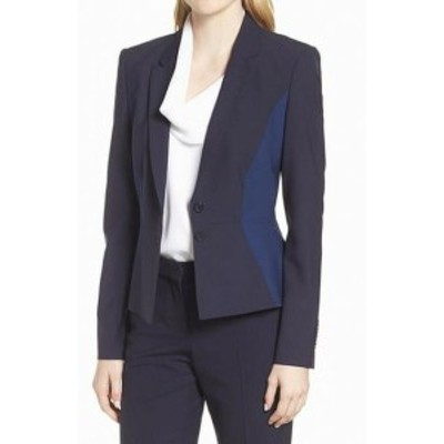 Blazer ブレザー ファッション 衣類 Hugo Boss NEW Blue Patchwork Colorblocked Womens Size 6 Blazer Jacket