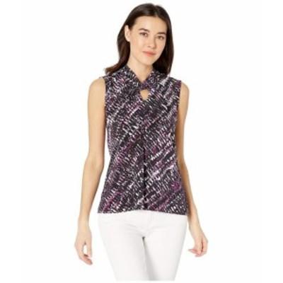 Tahari by ASL タハリバイエーエスエル 服 一般 Matte Jersey Printed Twist Neck Sleeveless Top