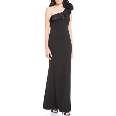 ジェシカハワード レディース ワンピース トップス One Shoulder Rosette Ruffle Stretch Gown
