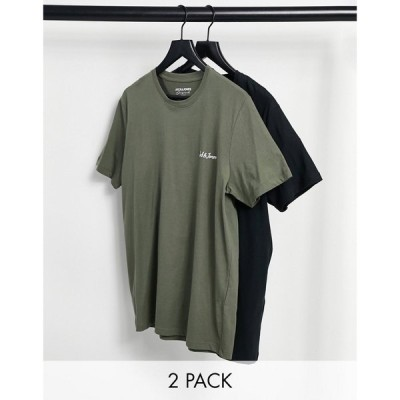ジャック アンド ジョーンズ Jack & Jones メンズ Tシャツ 2点セット トップス Originals 2 pack logo t-shirt in black & khaki