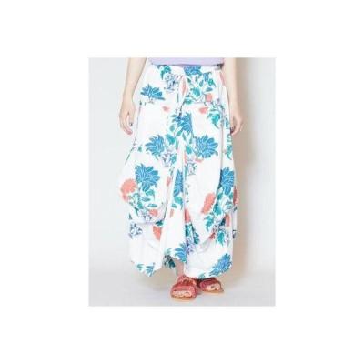 【チャイハネ】yul オリエンタルフラワー変形バルーンスカート ホワイト