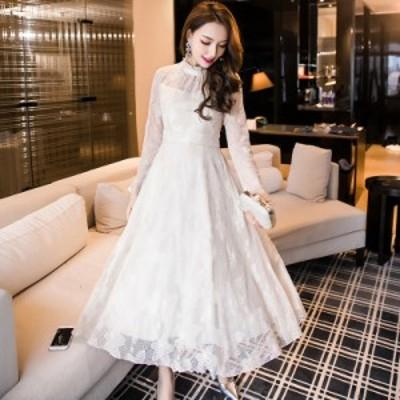 ドレス ワンピース デコルテ スリーブ レース ホワイト 透け感 シースルー #0535