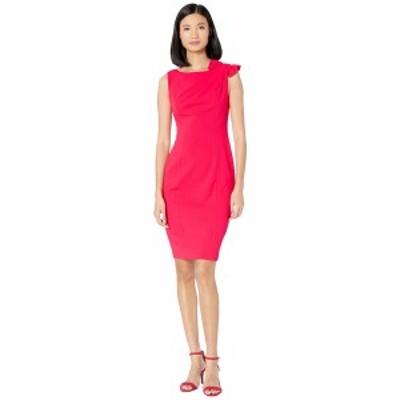 カルバンクライン レディース ワンピース トップス Ruffle Shoulder Knot Detail Sheath Dress Lipstick