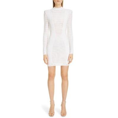 バルマン ワンピース トップス レディース Sheer Stripe Long Sleeve Sweater Minidress Blanc