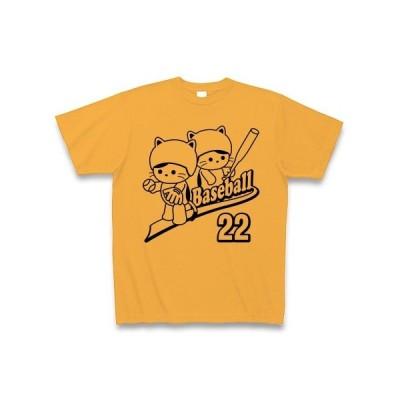 野球とねこのロゴ Tシャツ(コーラルオレンジ)