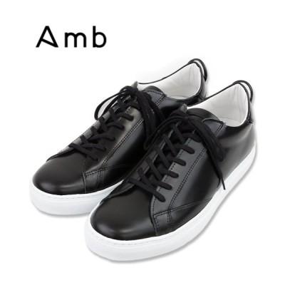 【AMB エーエムビー】【別注】 ガラスレザー ローカットスニーカー (9838) GLACE ブラック メンズシューズ 本革