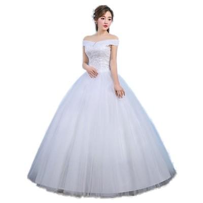 ドレス花嫁ドレスウェディングドレス二次会ドレスパーティードレス結婚ドレスイブニングドレスキャバ嬢ドレスロング可愛い大人気編み上げ白オフショルダー