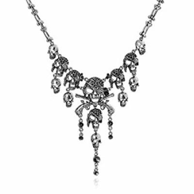 Halloween Punk Necklace, Gothic Skull Tassel Bone Chain Choker Statement Bib Collar Necklace Jewelry For Women