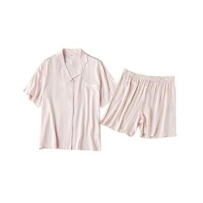 Euyqs パジャマ レディース 前開き ショー半袖シャツ ショートパンツ 夏のレーヨン薄手の綿 部屋着 (#2 ピンク, M)